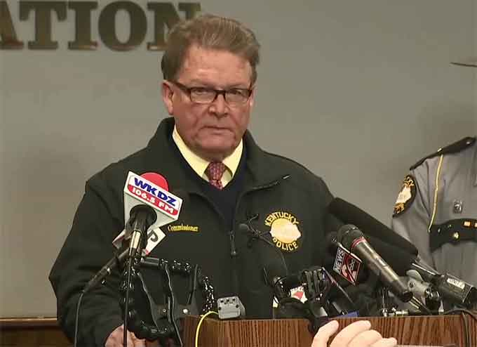 Kentucky State Police Commissioner Richard W. Sanders giving an update on the Marshall County High School shooting on Jan 23, 2018. On Monday another school shooting occurred in Italy, Texas whereby a 15-year-old female student was shot.