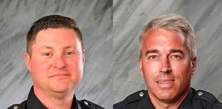 Officers Eric Joering and Anthony Morelli were fatally shot answering a 911 hangup call in Ohio on Saturday (Image courtesy of the Westerville Police Department and YouTube)