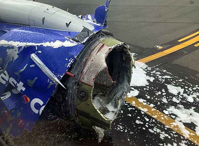 The engine of a Southwest Airlines plane after an emergency landing at the Philadelphia airport, April 17, 2018. (Image courtesy of Joe Marcus, Twitter)