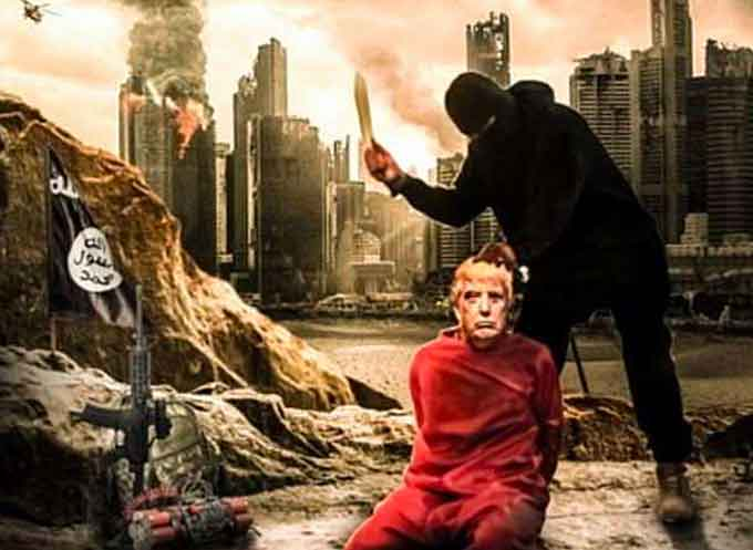 The poster shows President Donald Trump on his knees in an orange jumpsuit with an ISIS fighter about to cut his throat, while the city of New York burns in the background. (Courtesy of MEMRI JTTM)
