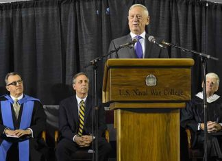 Secretary of Defense James N. Mattis addresses students of U.S. NWC 2018 graduating class during a commencement ceremony. The graduating class of 2018 included 323 resident students of the Navy, Marine Corps, Air Force, Army, Coast Guard, federal civilian employees and 103 international students. Additionally, 1,109 students completed coursework through NWC's College of Distance Education programs. (Courtesy of the U.S. Navy and Mass Communication Specialist 2nd Class Jess Lewis)
