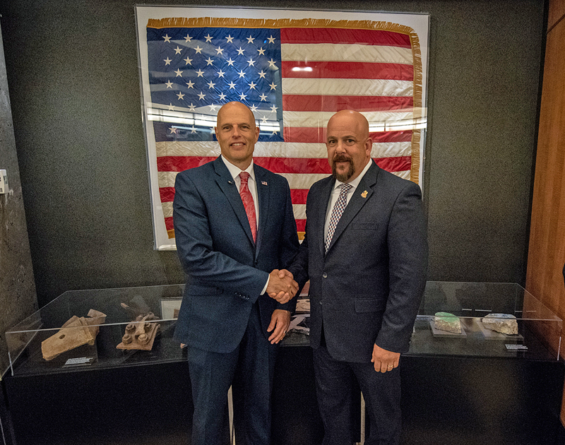 ICE Homeland Security Investigations (HSI) Special Agent Scott Brown (at right), pictured here with Ronald Donato Vitiello, Acting Director of the U.S. Immigration and Customs Enforcement (ICE)