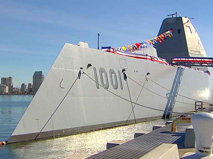 U.S.S. Michael Monsoor at the commissioning ceremony Saturday in San Diego (Courtesy of the U.S. Navy image)
