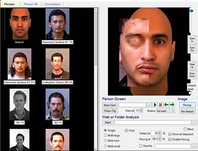 Full Face Recognition Face Forensics (f2) is a highly advanced face recognition system that is designed to work with the embedded or linked face images in your existing database, be it SQL Server, Oracle, or DB2. Pictured here, a partial face overlaid on the template (one eye is visible). Results against 5000 face database. (Courtesy of Face Forensics)