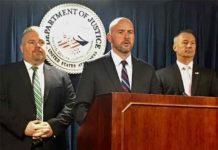 (Left to right) Peter C. Fitzhugh, Special Agent in Charge,HSI Boston U.S. Attorney for the District of Massachusetts Andrew E. Lelling ; Todd M. Lyons, Acting Field Office Director, ERO Boston. (Courtesy of ICE)