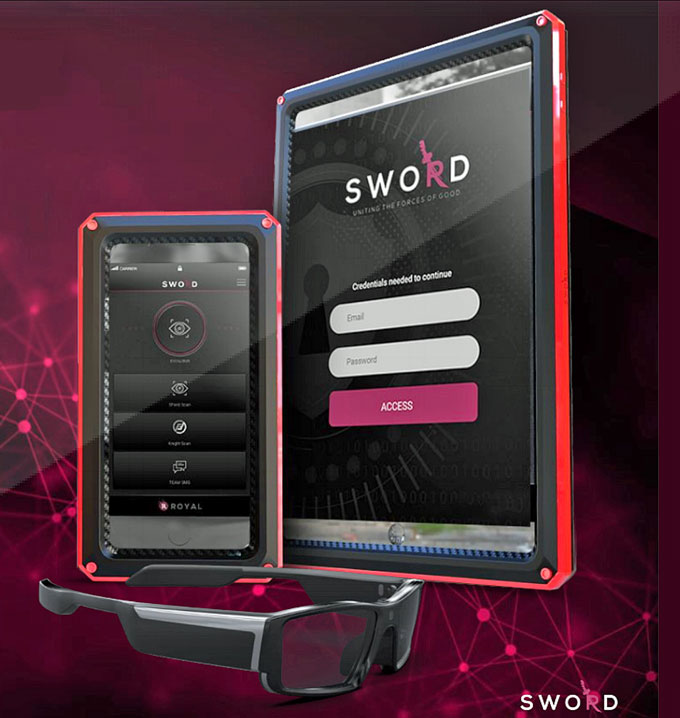 Royal Holdings Technologies combined mobile platforms with IoT and AI into a single product called SWORD, to identify, manage and mitigate immediate threats.SWORD features an integrated, infrared-object-detection HD camera and proprietary algorithms paired with the company's facial recognition software, and all placed in what appears to be a regular case for an iPhone or iPad.