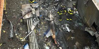 Images from the scene of today's helicopter crash at 787 7th Ave. in Manhattan. #FDNY members remain on scene. There is one fatality reported. (Courtesy of the FDNY)