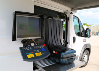 The Smiths Detection ScanVan 100100 PRO is a vehicle mounted X-ray inspection designed to enhance security operations by allowing organizations to deploy a temporary checkpoint in less than 5 minutes.