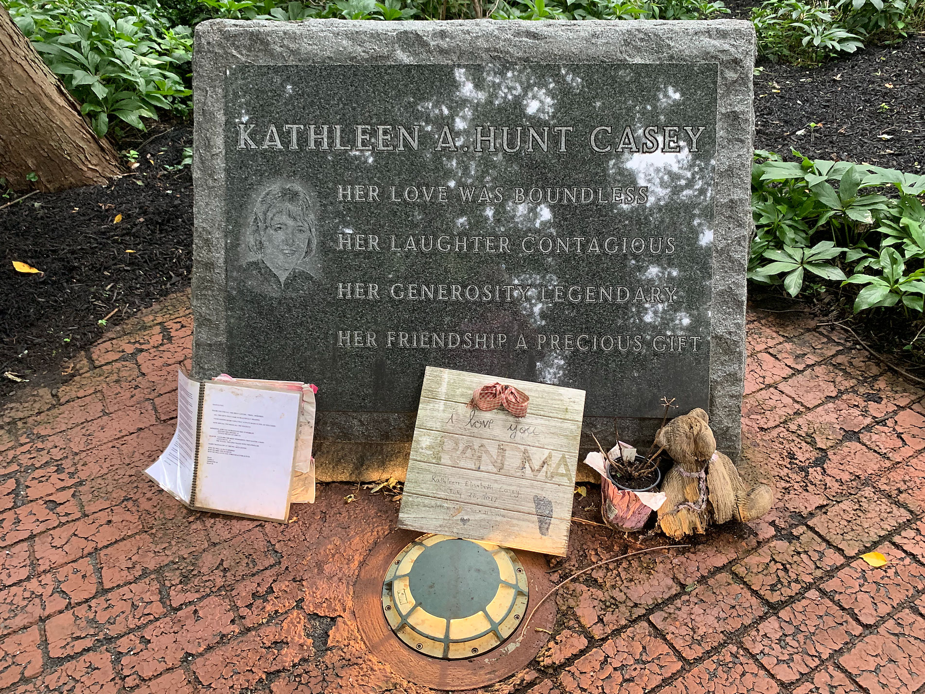Kathleen A. Hunt Casey, one of 37 remembered in the Middletown World Trade Center Memorial Gardens.