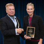 Stephanie Weagle, Chief Marketing Officer at BriefCam accepts the 2019 'ASTORS' Award at ISC East.