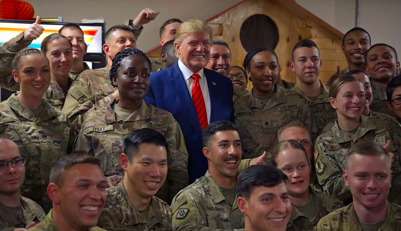 President Trump visiting troops for Thanksgiving in Bagram, Afghanistan (Courtesy of YouTube)