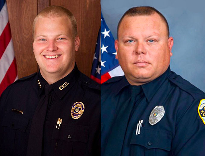 AR Police Officer Carr (at left), was 'ambushed and executed' as he sat in his patrol vehicle outside the Fayetteville Police Department on Saturday. Huntsville Officer Billy Clardy was killed while working a drug investigation Friday afternoon. Clardy is survived by a wife and five children. He is also the son of fallen officer Billy Fred Clardy Jr. who waskilled in the line of dutywith the Huntsville Police Department on May 3, 1978.