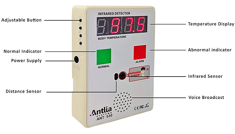 With no need for physical contact, the ANT-530 Thermal Detector is a vital tool for reducing the spread of COVID-19 and other highly contagious infectious diseases.
