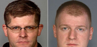 "On June 8, 2014, Las Vegas police officers Alyn Beck, 42, and Igor Soldo, 32, were shot at point-blank range and killed in an ambush while on their lunch break at Cicis Pizza by Jerad and Amanda Miller. Afterwards, they covered Officer Beck with a yellow Gadsden flag and a swastika, and pinned a note on his body, which read: ""This is the beginning of the revolution."" They also stole both officers' handguns and spare ammunition magazines. During the restaurant shooting, the Millers loudly declared to other patrons that it happened to be the start of ""a revolution"". The two then fled to a nearby Walmart, where Jerad fired a shot at the ceiling and ordered shoppers to leave. Civilian Joseph Wilcox also died while trying to stop the shooters in a nearby Walmart. (Courtesy of the LVMPD)"