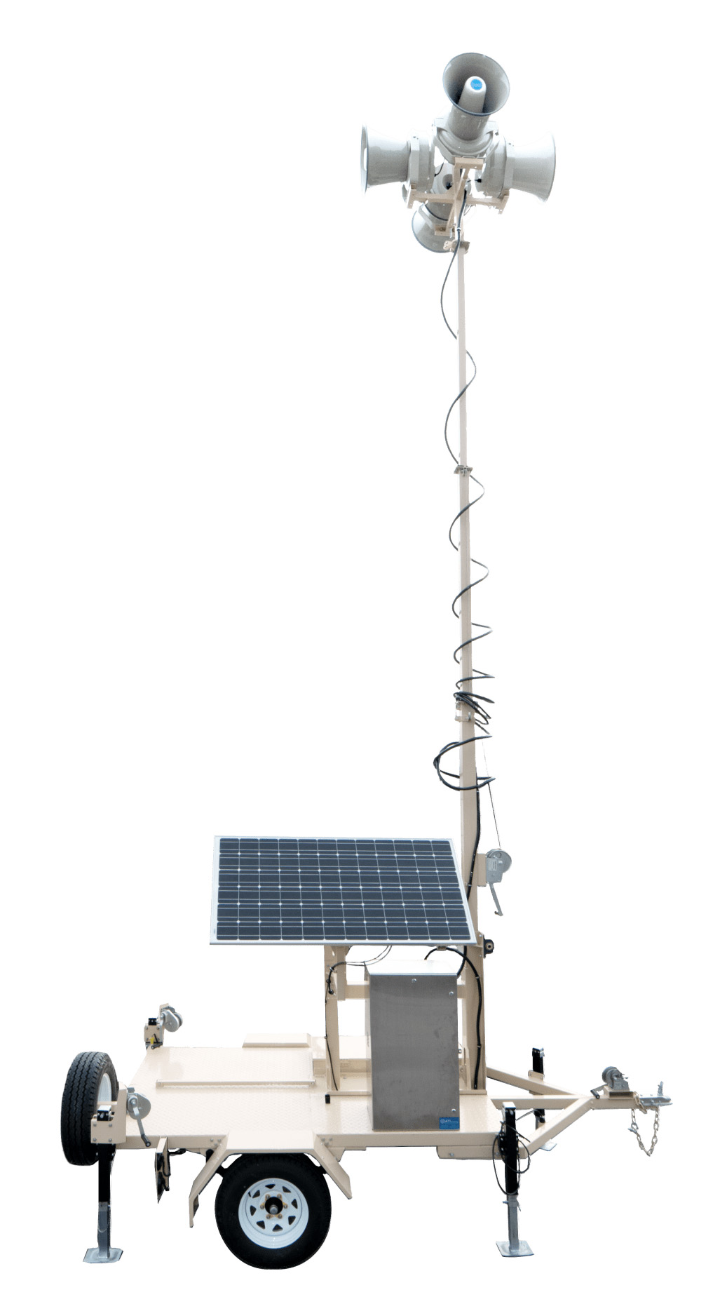 The Mobile High Powered Siren Station (MHPSS) from ATI Systems, is an ergonomic mobile siren trailer that allows Emergency Managers to deploy a reliable system in minutes.